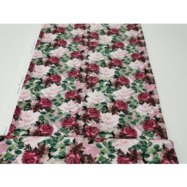 French Terry luxury vintage roses in 2 layer