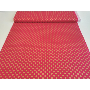 100 % cotton gold dots in pink