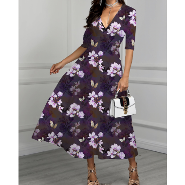 Single jersey fashion magnolias in purple