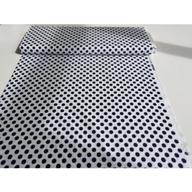 100 % cotton in white with navy blue dots 1,1 cm