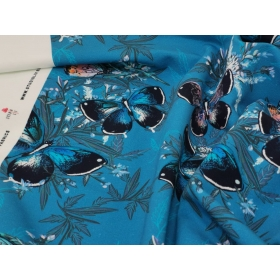 French Terry butterflies in turquoise