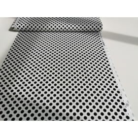 100 % cotton on white with black dots 1,1 cm