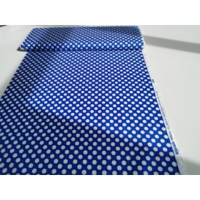 100 % cotton in royal blue with white dots 1,1 cm