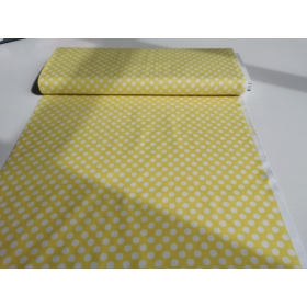 100 % cotton in acid yellow with white dots 1,1 cm