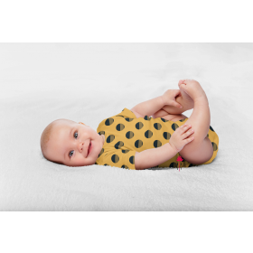 Single jersey modern dots 3 cm in yellow