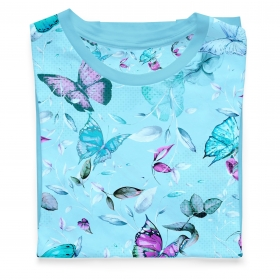 Single jersey butterflies-flowers in light blue